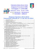 COMUNICATO n.17 del 30/10/2014