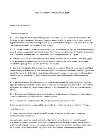 Corte di Cassazione 19 marzo 2014, n. 6319 Svolgimento del