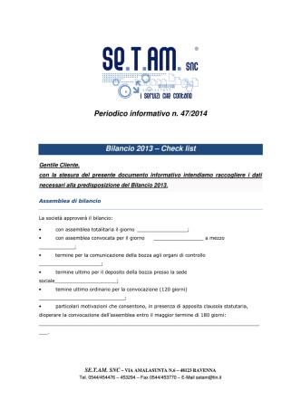 Check list - SE.T.AM. Contabilità Ravenna