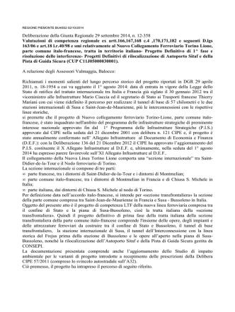 Deliberazione della Giunta Regionale 29 settembre 2014, n. 12