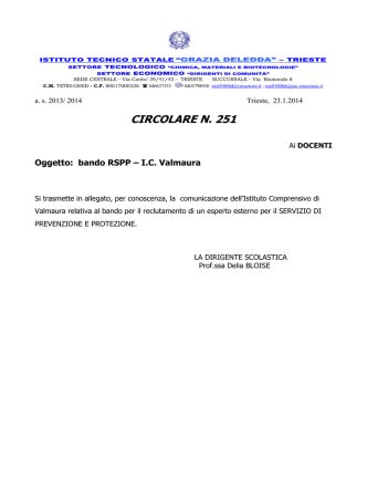 251 bando esperto esterno RSPP Istituto Valmaura