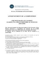 announcement of a competition - Università degli Studi di San Marino