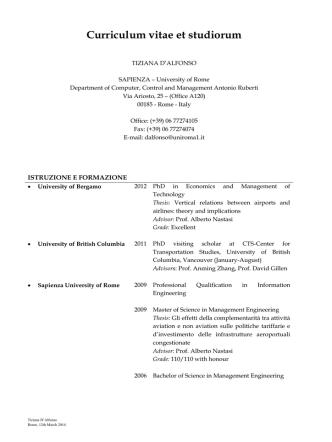 Curriculum vitae et studiorum - Dipartimento di Informatica e