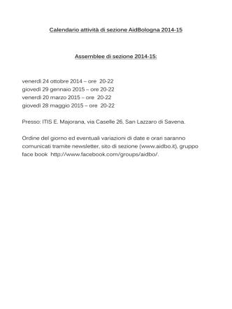 Calendario attività 2014/2015 sezione di Bologna