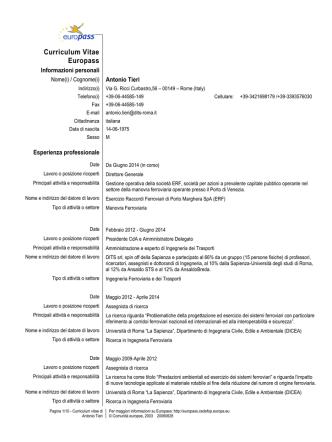 Curriculum Vitae - Esercizio Raccordi Ferroviari di Porto Marghera