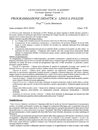 5D inglese - Liceo Dante Alighieri