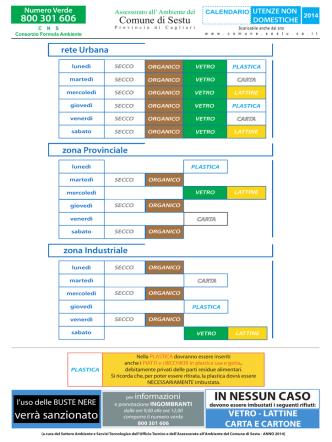 Calendario raccolta differenziata - utenze non