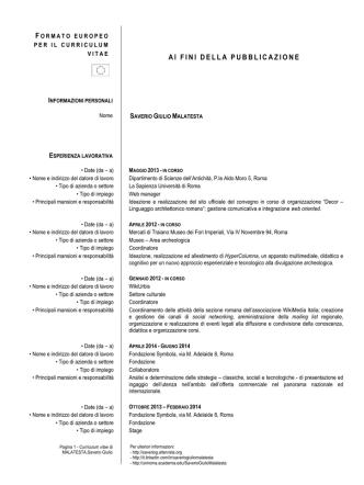 Curriculum di Saverio Giulio Malatesta - DigiLab