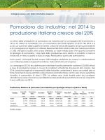 Pomodoro da industria: nel 2014 la produzione italiana cresce del