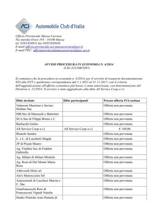 Avviso procedura in economia n. 4/2014