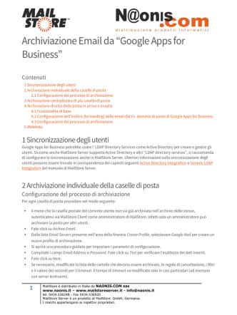 "Archiviazione Email da ""Google Apps for Business"""
