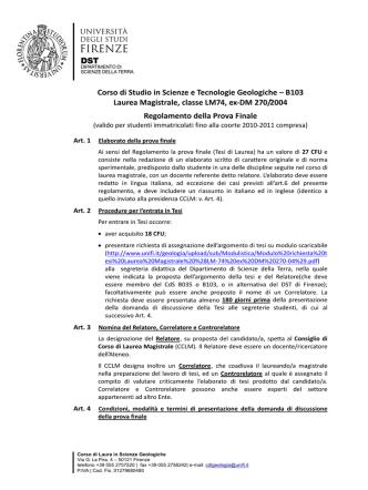 Corso di Studio in Scienze e Tecnologie Geologiche – B103 Laurea