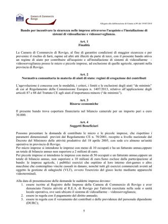Bando Videosorveglianza - Camera di Commercio di Rovigo