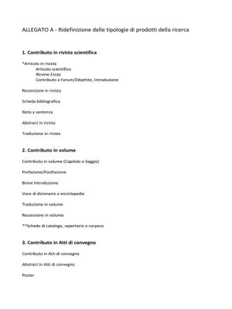 ALLEGATO A - Ridefinizione delle tipologie di prodotti della