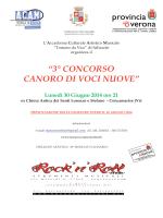"""""""3° CONCORSO CANORO DI VOCI NUOVE"""" Lunedì 30 Giugno"""