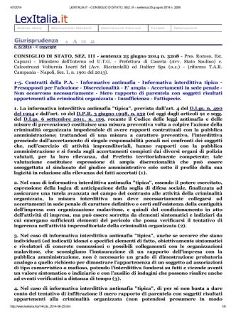 CONSIGLIO DI STATO, SEZ. III - sentenza 25 giugno 2014 n. 3208