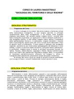 Programma Laurea Magistrale Geologia del Territorio e delle