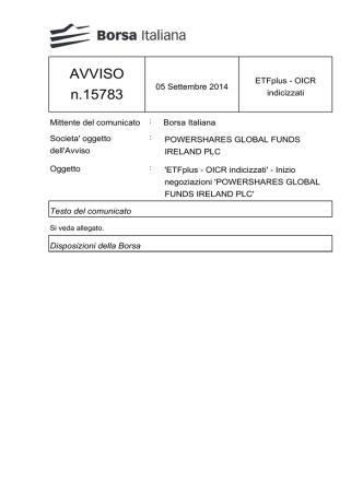 AVVISO n.15783 - Borsa Italiana