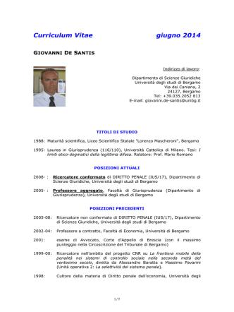 Curriculum Vitae giugno 2014 - Università degli studi di Bergamo