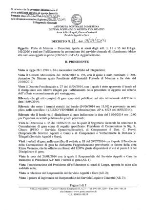 Aggiudicazione - Autorità Portuale di Messina