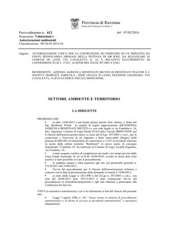 Az. Agr. BENFENATI MICETO - Provvedimento n. 412 del 07-02-2014