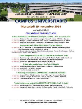 CAMPUS università 2014 - Liceo Artistico Preziosissimo Sangue