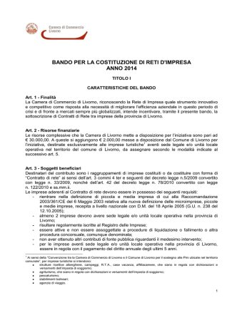 Bando - Camera di Commercio Livorno