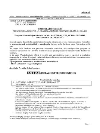 Allegato E - capitolato tecnico - Istituto Comprensivo