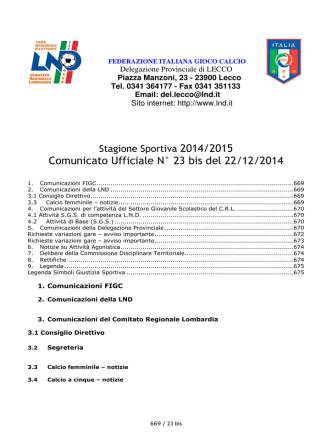 Comunicato ufficiale N.23 bis