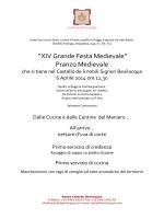 """XIV Grande Festa Medievale"" Pranzo Medievale"