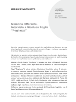 Memoria differente. Intervista a Gianluca Foglia - E