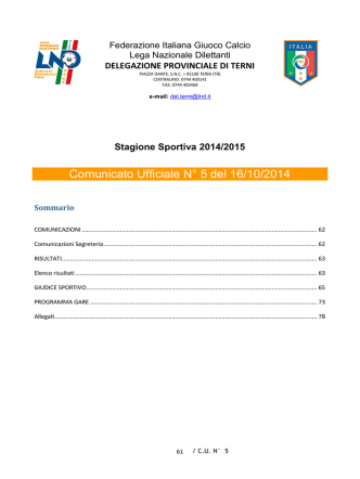 Comunicato Ufficiale N° 5 del 16/10/2014