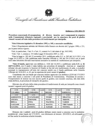 Delibera n. 1192 /2014 /IV - Consiglio di Presidenza della Giustizia