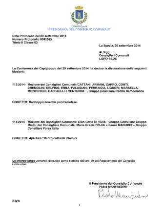 Convocazione C.C. 06.10.2014 Ore 17.30