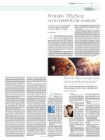 """""""Bergoglio: il Big Bang non contraddice la creazione"""" di Paolo Rodari"""