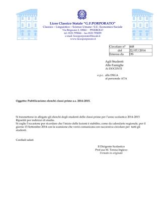 448-Pubblicazione elenchi classi prime 2014-15