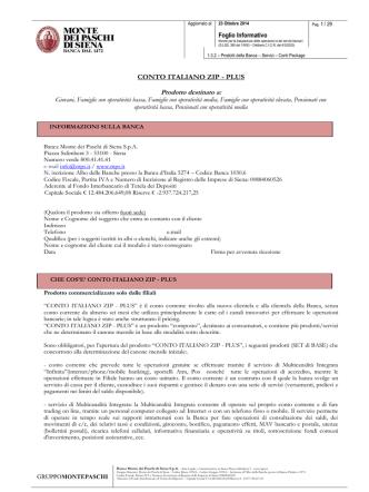 CONTO ITALIANO ZIP - PLUS - Banca Monte dei Paschi di Siena