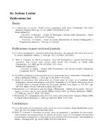 Publication list - Facoltà di Scienze della Formazione