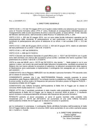Decreto - Ufficio Scolastico Regionale per la Puglia