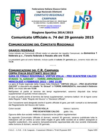 cu 74 2014-2015 - Comitato Regionale Campania