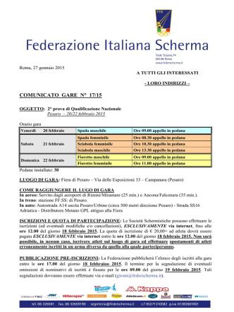Comunicati gare Nazionali - Federazione Italiana Scherma