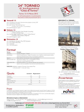 CITTÀ DI TORINO - asd circuito nazionale backgammon