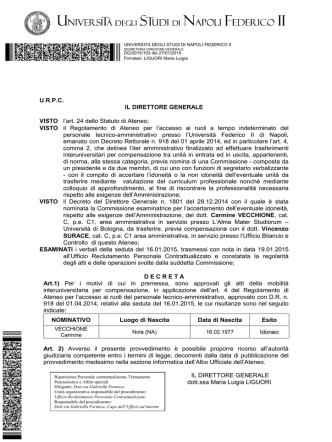 Approvazione atti - Università degli Studi di Napoli Federico II
