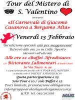 Venerdì 13 Febbraio : Tour del Mistero di S. Valentino