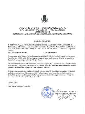 COMUNE DI CASTRIGNANO DEL CAPO C.F.81003110756 (Prov