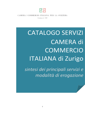 CATALOGO SERVIZI CAMERA di COMMERCIO ITALIANA di Zurigo