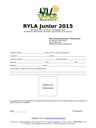All.1 Form - RYLA JUNIOR MANTOVA
