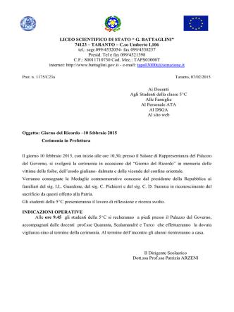 Cerimonia in Prefettura - Liceo Scientifico Statale Battaglini
