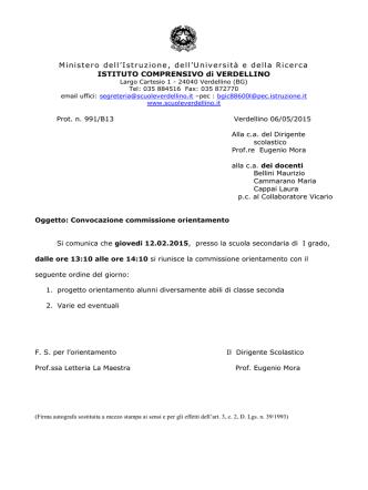 convocazione commissione orientamento