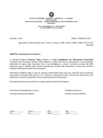 Circolare n. 169 Milano, 9 febbraio 2015 Agli studenti e docenti